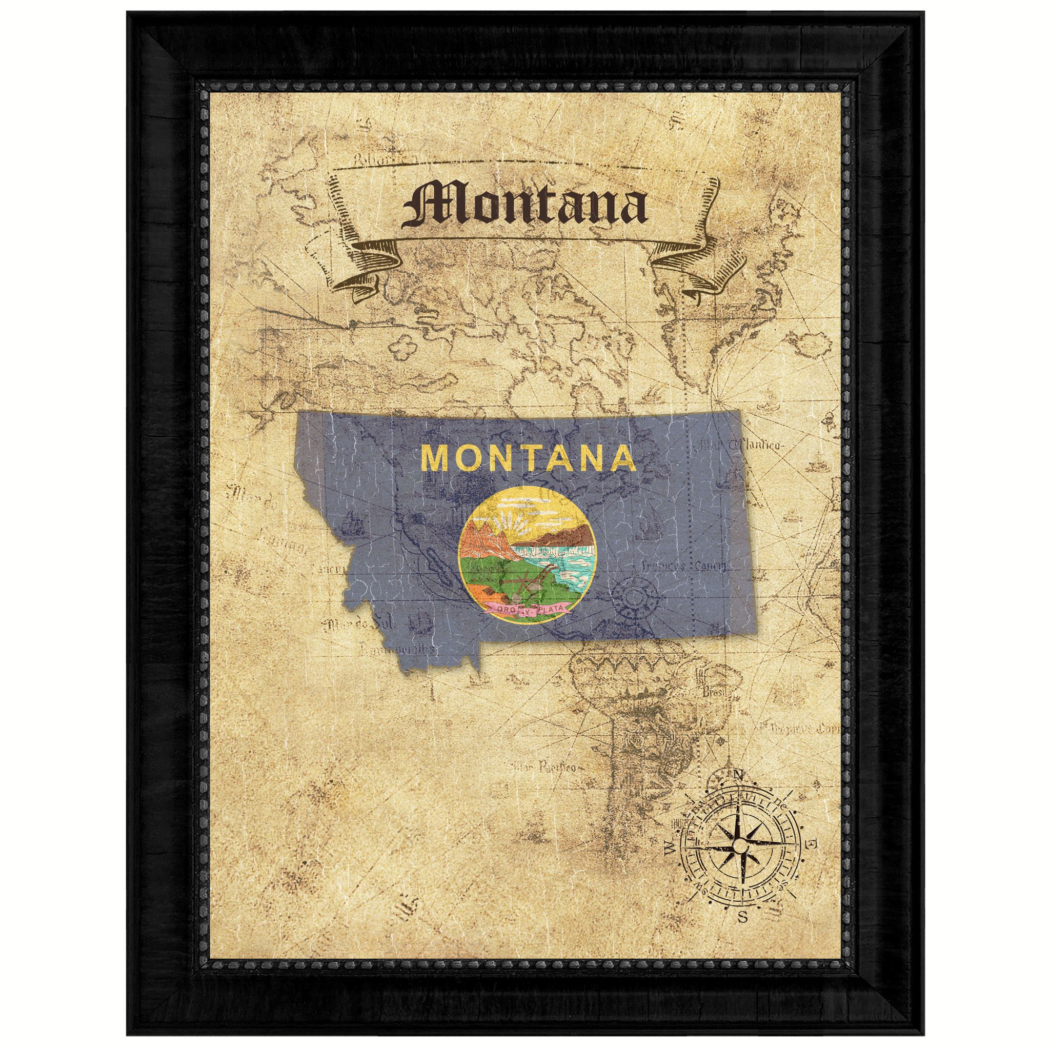 Montana State Vintage Map Gifts Home Decor Wall Art Office ...