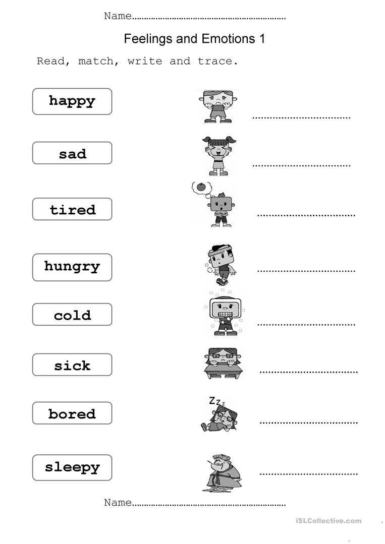Emotions Worksheet For Kindergarten