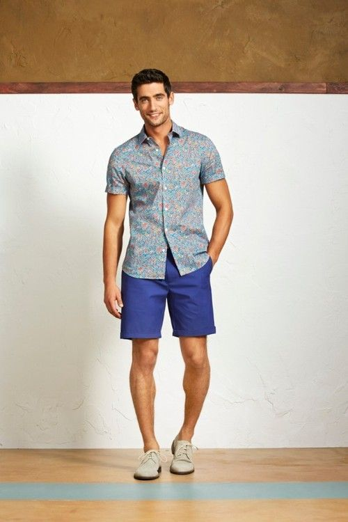 Men's Light Blue Floral Short Sleeve Shirt, Blue Shorts, Beige ...
