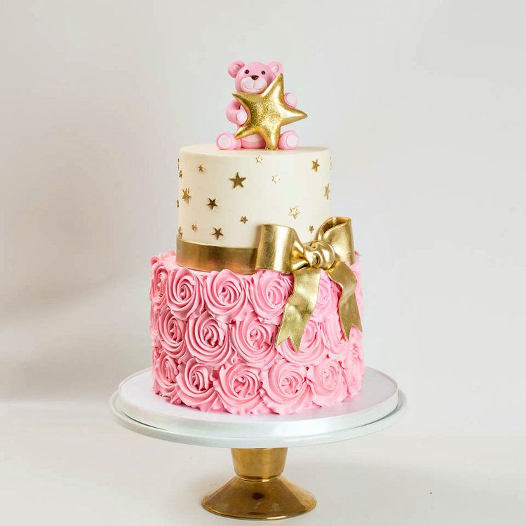 Pink And Gold Star Baby Shower Cake With Rosettes And Teddy Bear