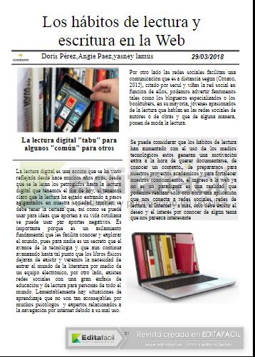 Reportaje Pag 1 Los Habitos De Lectura Y Escritura En La Web