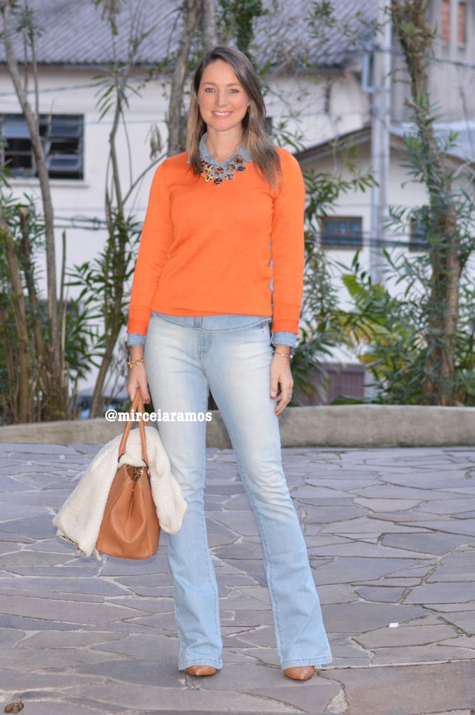 ... work outfit - office outfit - winter outfit - fall outfit - frio - look  de inverno - inverno- calça jeans flare - blusa laranja - animal print c7d7593b8e5f9