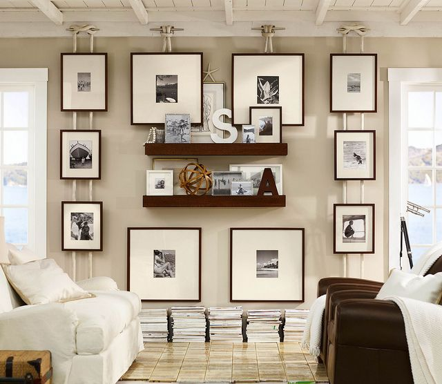 hanging pictures with boat hardware and rope - pottery barn frames