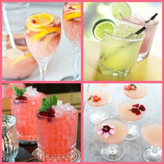 Bridal Shower Cocktails - Citrusy Champagne Sangria, Margaritas, Cranberry Ginger Fizz, Lillet Rose Spring Cocktail