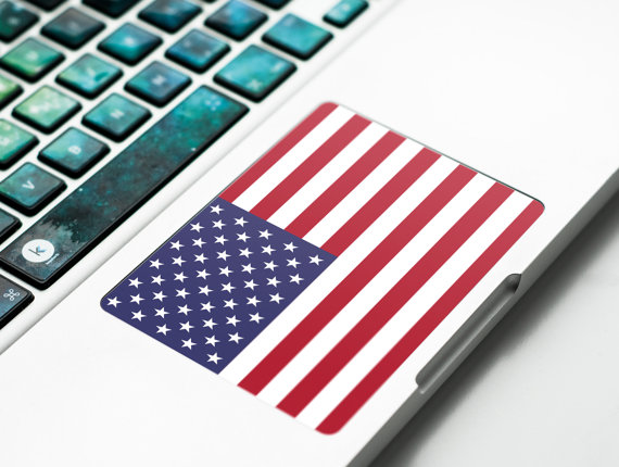 Touchpad Sticker with USA flag US banner for Apple par Keyshorts