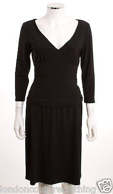 JONES WEAR DRESS V-NECK RUCHED WAISTBAND 3/4 SLEEVE KNEE LENGTH KNIT DRESS SZ 8