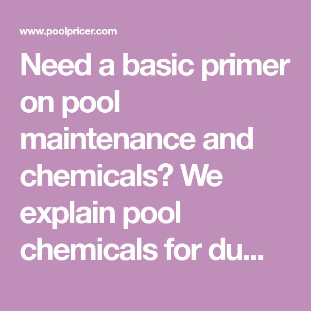 Pool Chemicals for Dummies | Pool Pricer | Pool chemicals ...