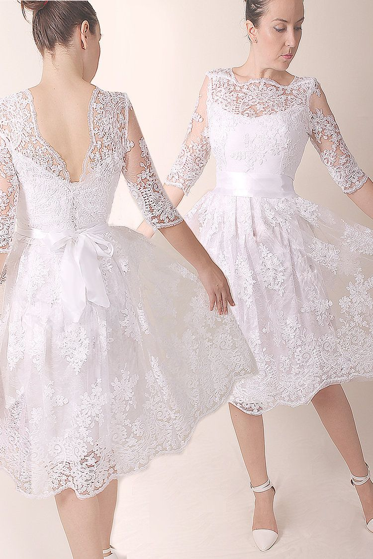 Lace Short Wedding Dress Romantic Bridal Gown With Sleeve Custom