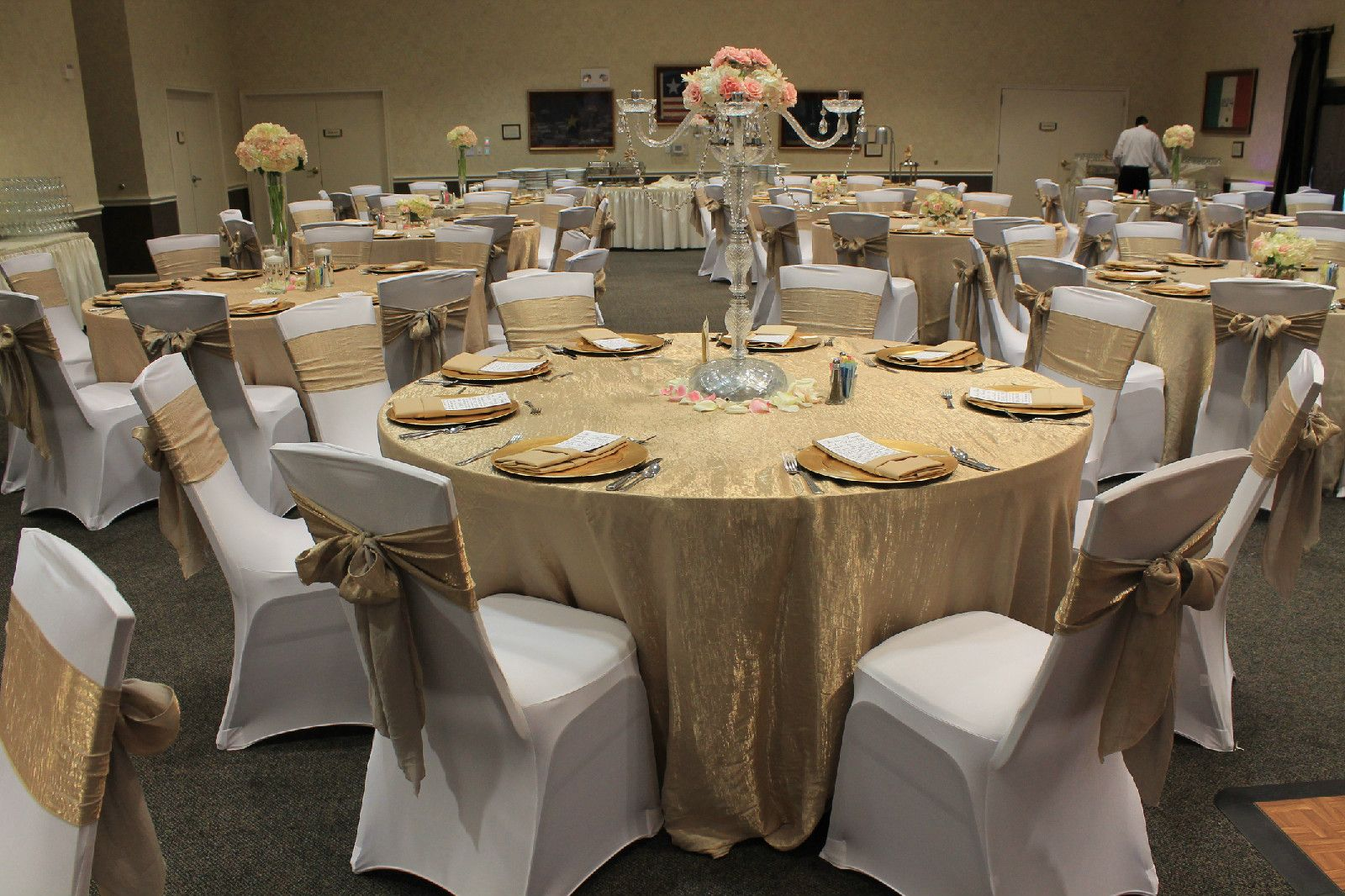 Champagne crushed taffeta tablecloths and chair sashes white