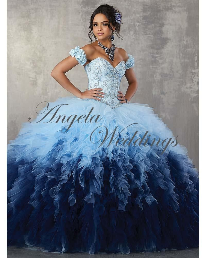 789b829595c Newest Gorgeous Gradient Tulle Ruffles Ball Gown Quinceanera Dresses ...