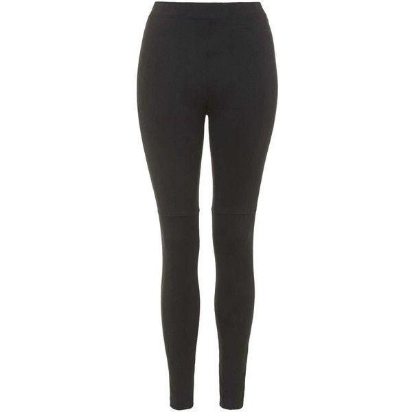 TOPSHOP Suedette Leggings ($40) ❤ liked on Polyvore featuring pants, leggings, topshop, black, black trousers, faux suede leggings, black leggings and textured leggings