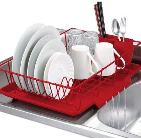 Home Basics 3 Piece Kitchen Sink Dish Drainer Set Various Colors