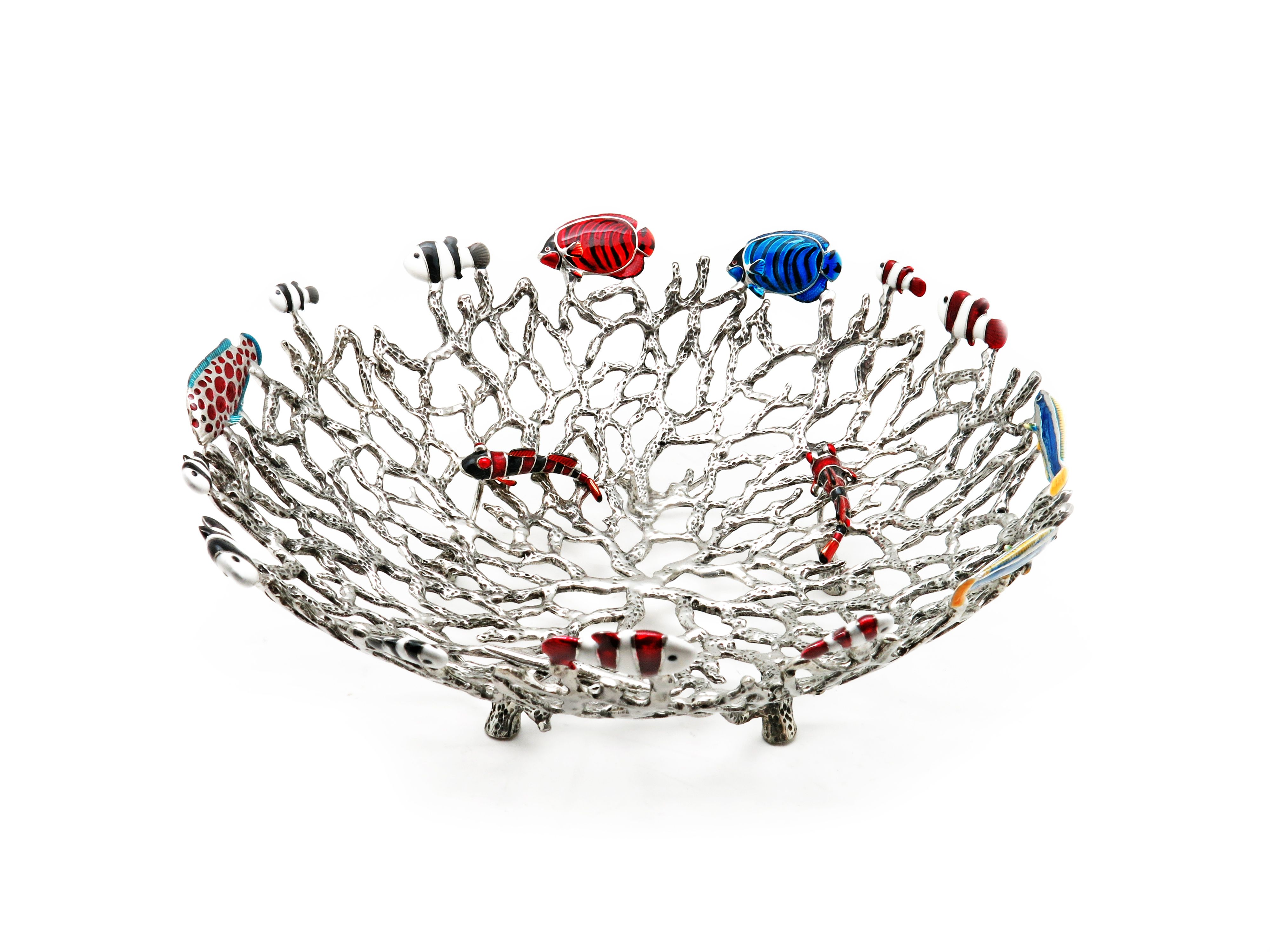 Handmade coral platter with beautiful fish details by Rosa Singh