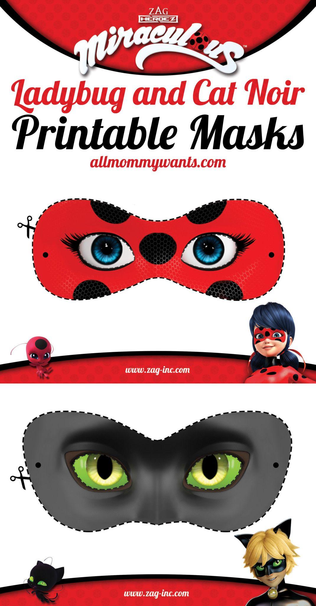 nice Printables: Miraculous Adventures of Ladybug and Cat Noir Masks