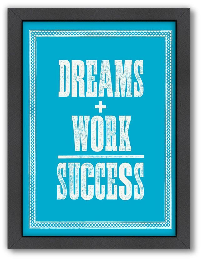 Americanflat Motivated Type \'\'Dreams + Work\'\' Framed Wall Art | Me ...