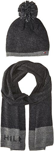 6d0560f503695 Tommy Hilfiger Women s Border Logo Hat and Scarf Set