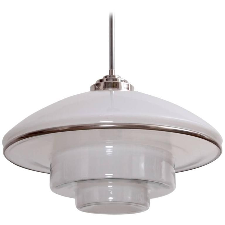 Rare xl sistrah pendant lamp in glass bauhaus by c otto müller 1932 this version is extremely hard to find excellent condition with no chips x model