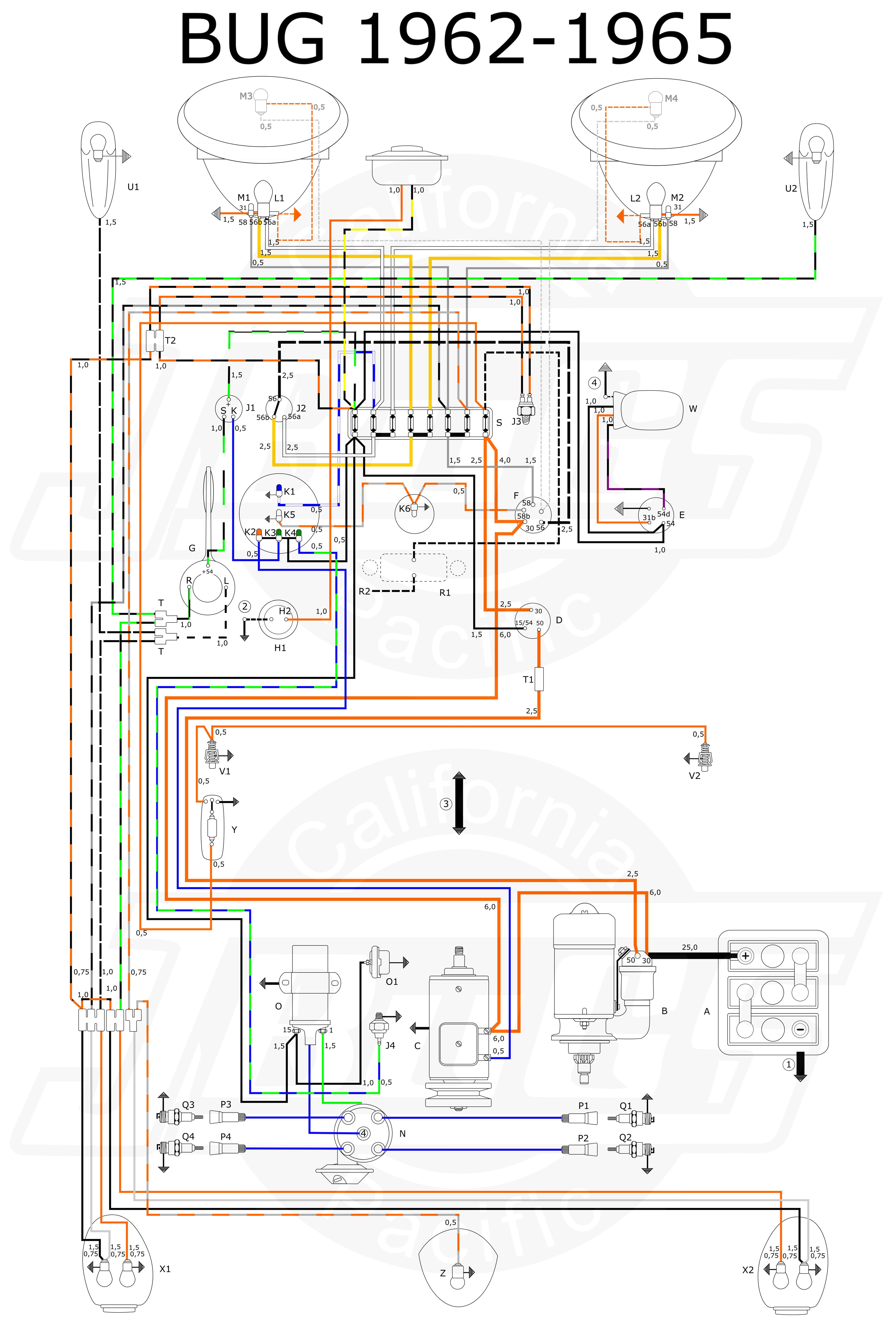 vw tech article 1960 61 wiring diagram [ 5070 x 7475 Pixel ]