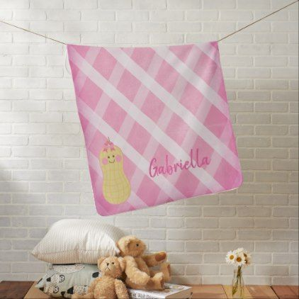Pink little peanut personalized baby blanket newborn baby gift pink little peanut personalized baby blanket newborn baby gift idea diy cyo personalize family negle Choice Image
