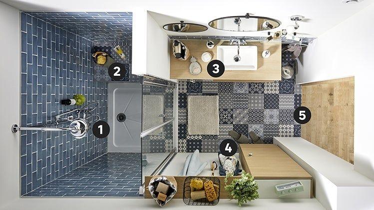 Idees Maison Leroy Merlin Mini Salle De Bains Maxi Charme Cette Petite Salle De Bains De 3 5 M2 Mini Salle De Bain Salle De Bain 3m2 Plan Salle De Bain