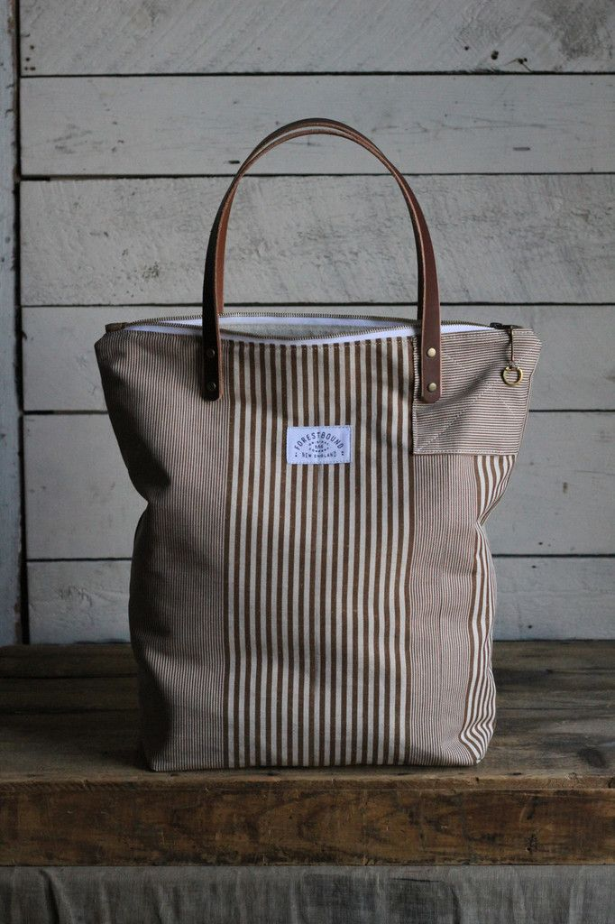 d83a2c00d The Rambler Tote / Brown Stripe Denim Purse, Tote Purse, Striped Canvas,  Elements