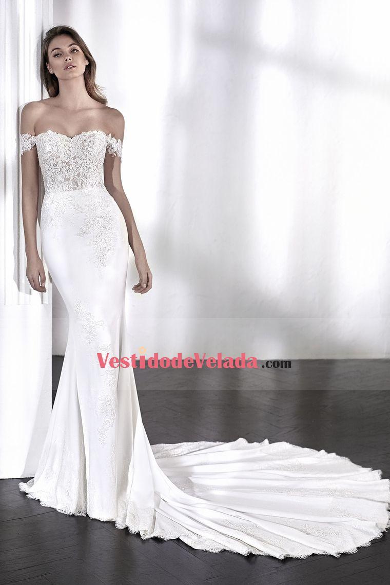 2018 fuera del hombro sirena vestidos de novia gasa con apliques US  350.99  VLPQP661NA - VestidoDeVelada.com for mobile 3fbafcd36951