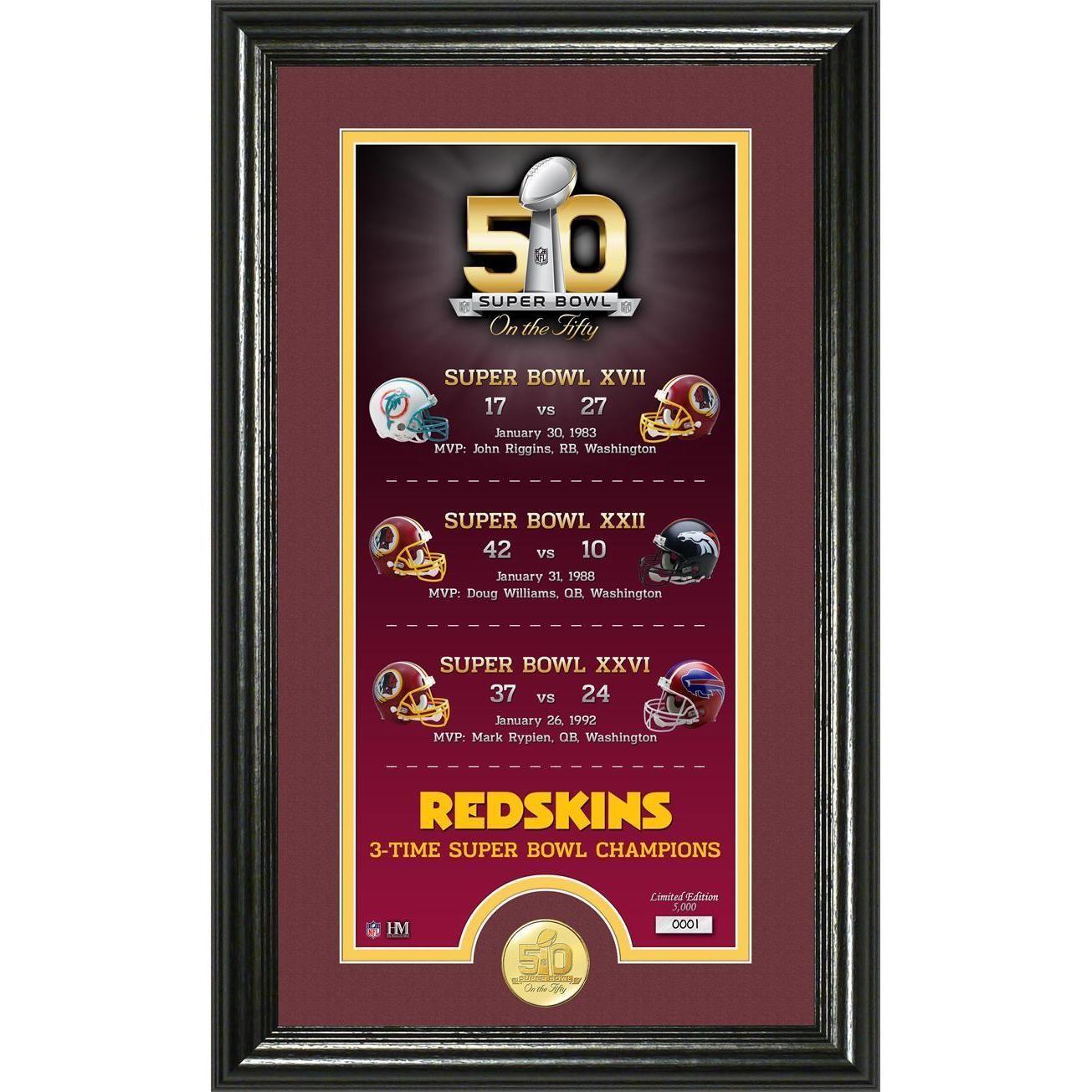 Washington Redskins Super Bowl 50th Anniversary Bronze Coin Supreme ...