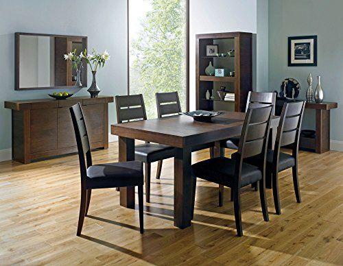 Coastlink Kita Walnut Extension Dining Table Set For 8 Slat Back