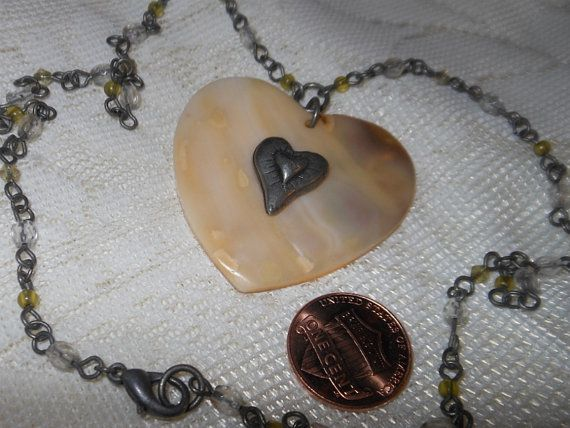 """Vintage Estate Antique Gold Tone Clear & Yellow Crystal Bead Chain Link Necklace with """"Shell/Mother of Pearl"""" Heart Pendant by cherylsvintagebling. Explore more products on http://cherylsvintagebling.etsy.com"""