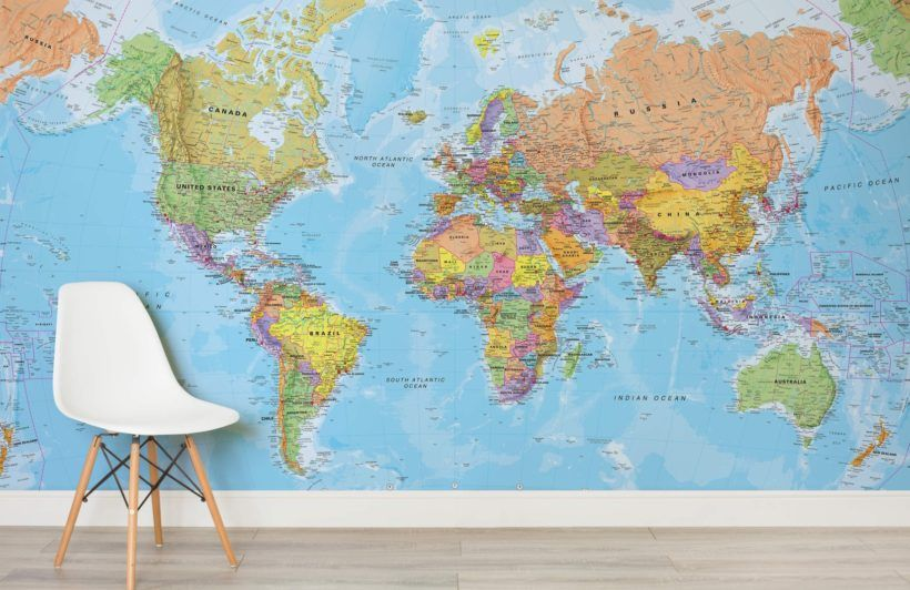 Political world map wallpaper wall mural muralswallpaper political world map wallpaper wall mural muralswallpaper gumiabroncs Image collections