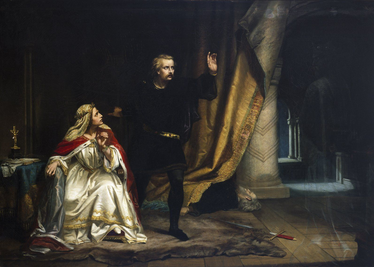 William Salter Herrick. Hamlet in the Queen's chamber. Oil ...
