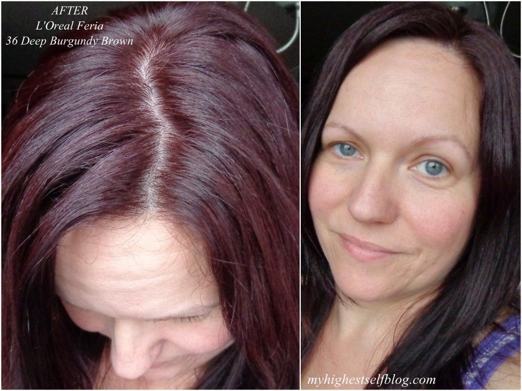 L Oreal Feria Deep Burgundy Brown After Photo Click Thru For Before After Photos Full Review Via M Feria Hair Color Hair Color Reviews Deep Burgundy Hair