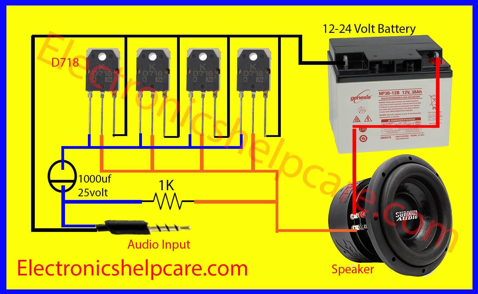 it s a simple easy amplifier circuit diagram using d718 only we can use 12 voltage to 24 voltage if you are beginner then this post for you  [ 1566 x 966 Pixel ]