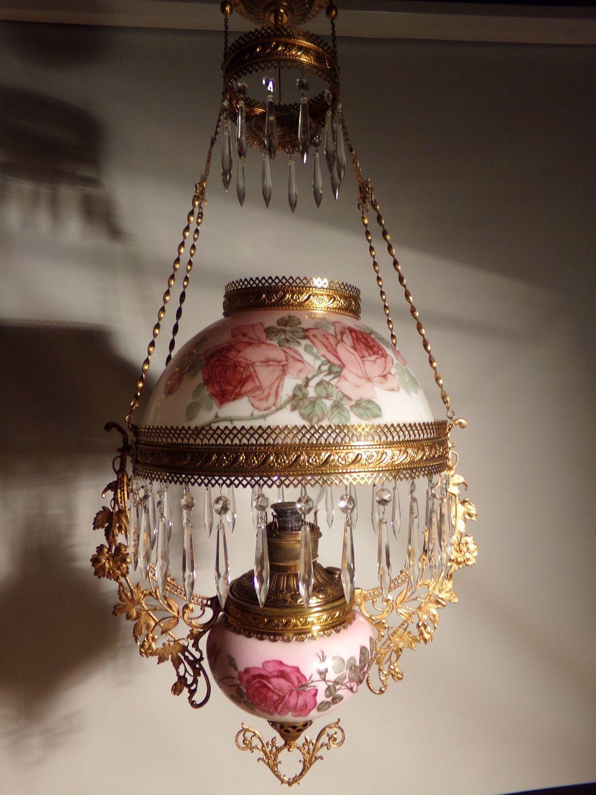 All Original Antique Miller Hanging Oil Lamp Ebay Victorian