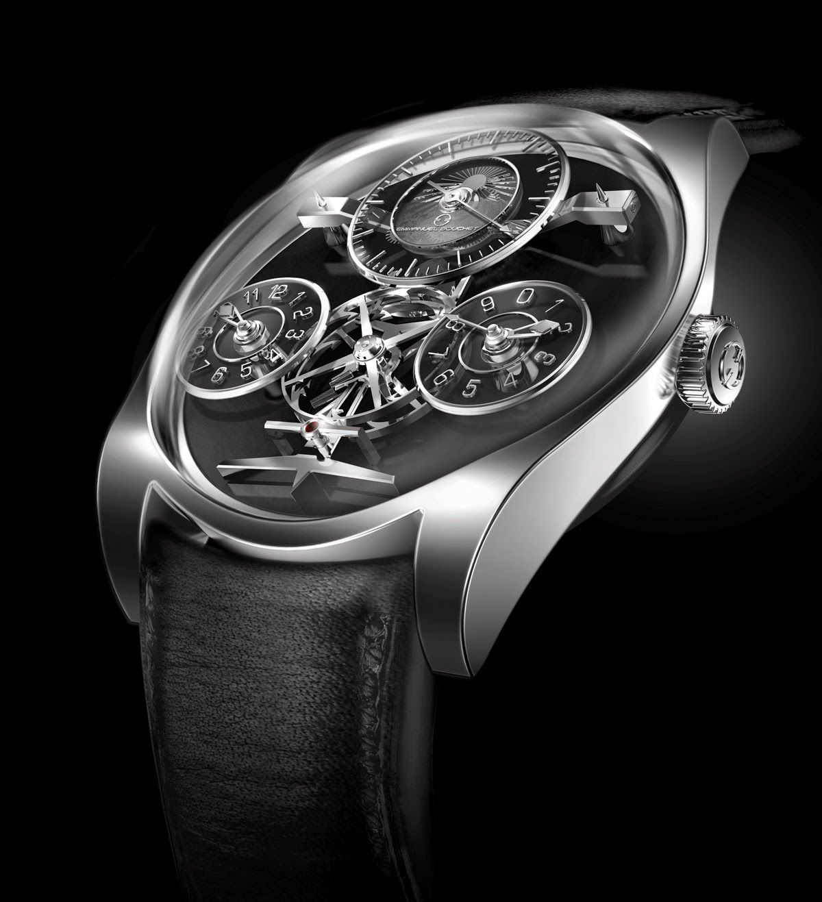 Emmanuel Bouchet Complication One, a timepiece which puts the key elements of the movement - the escape wheel and the anchor - at the centre of the dial   Time and Watches