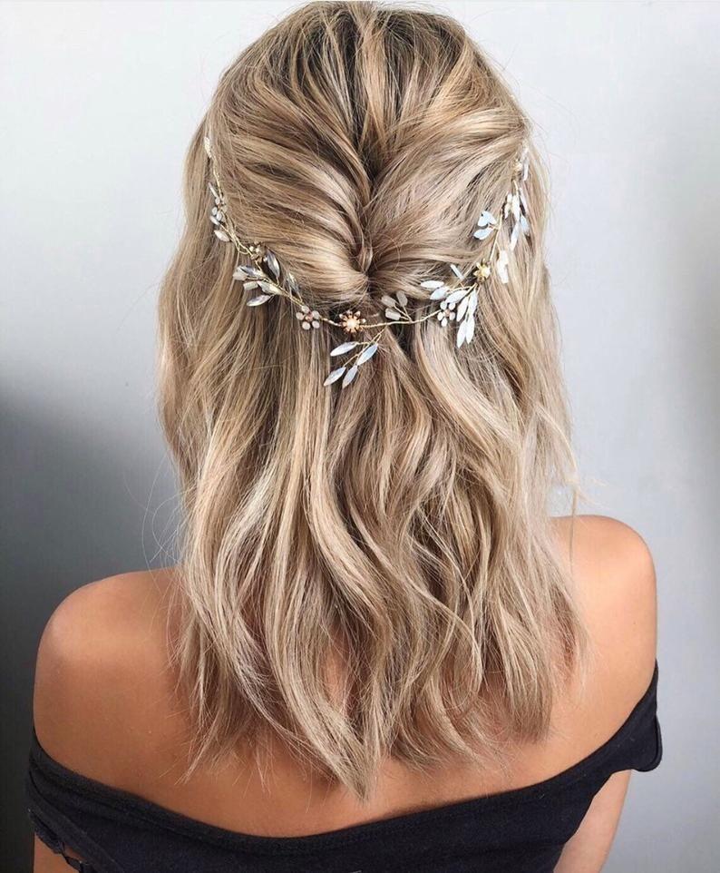 Opal Bridal Headband Gold Floral Hair Accessories Wedding Hair Piece Wedding Bridal Set Gold Hair Vine In 2020 Hair Styles Long Hair Styles Wedding Hair Pieces