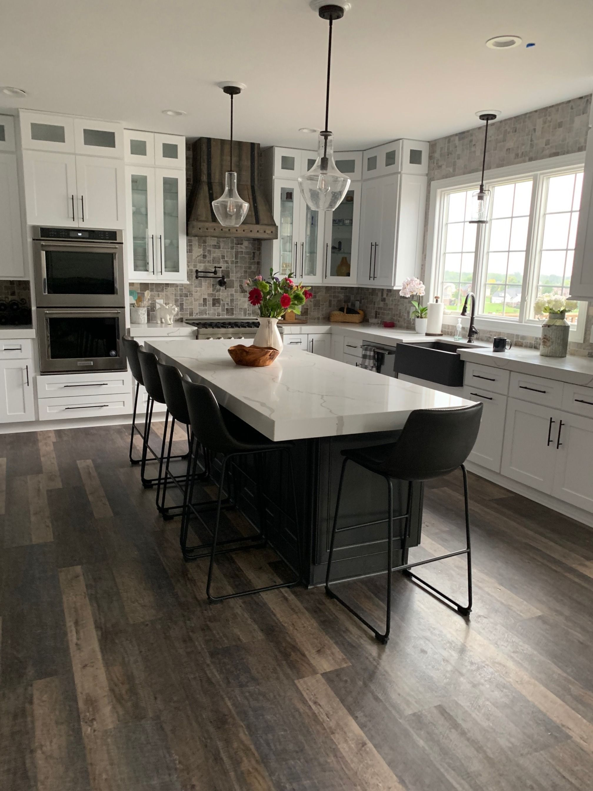 This beautiful customer kitchen features our white shaker