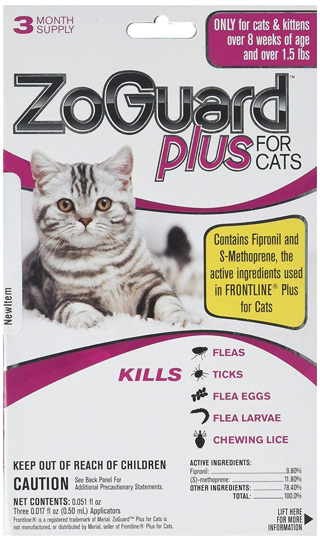 ZoGuard Plus Cat (Over 1.5 lbs) (3 dose) flea tick lice