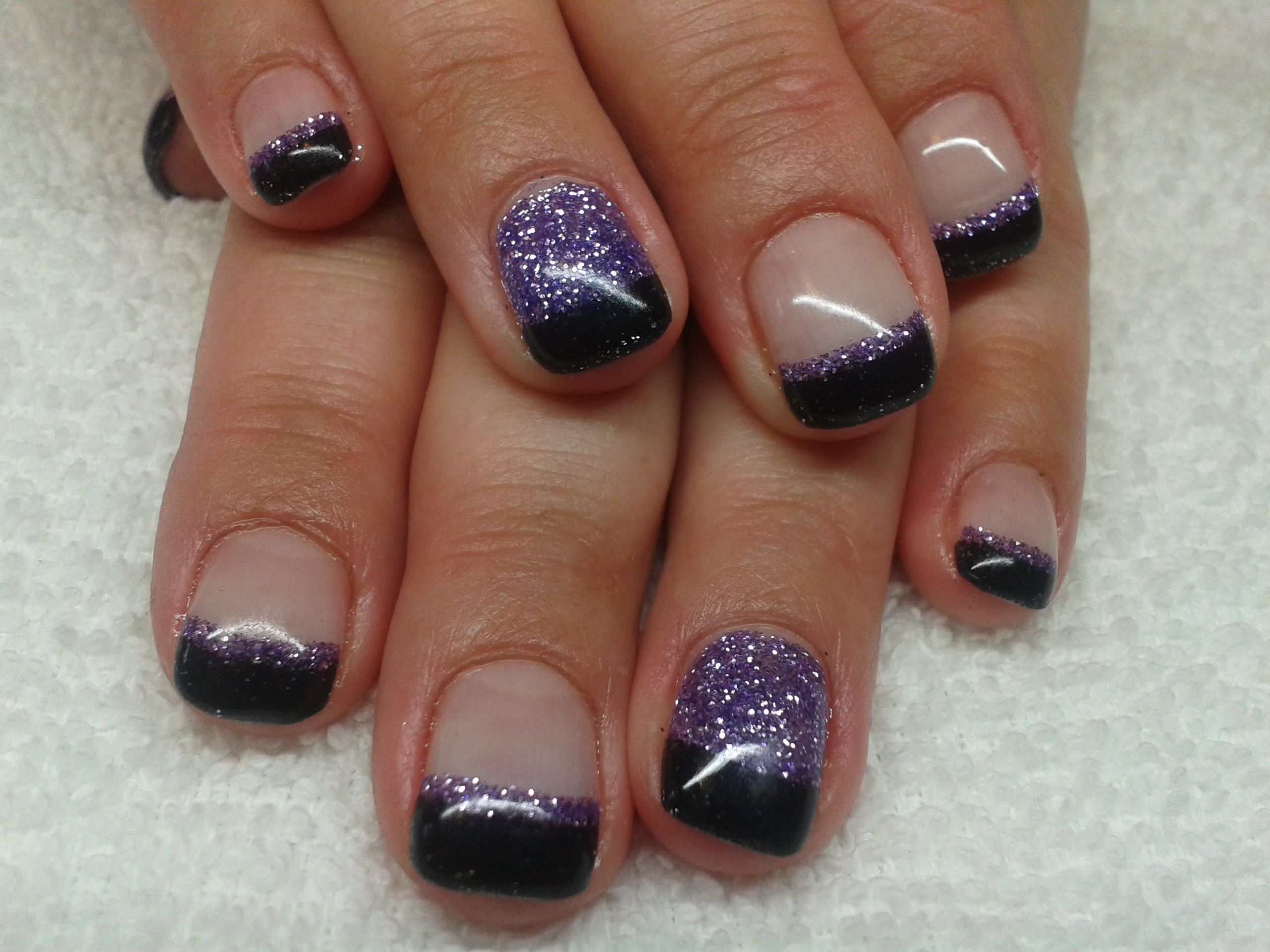 Black And Lavender Glitter Gel Nails