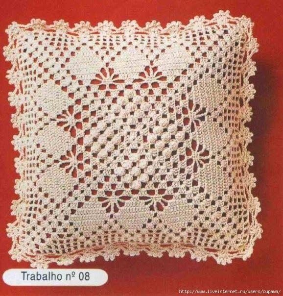 esquemas crochet para almohadon cuadrado   Cojines de