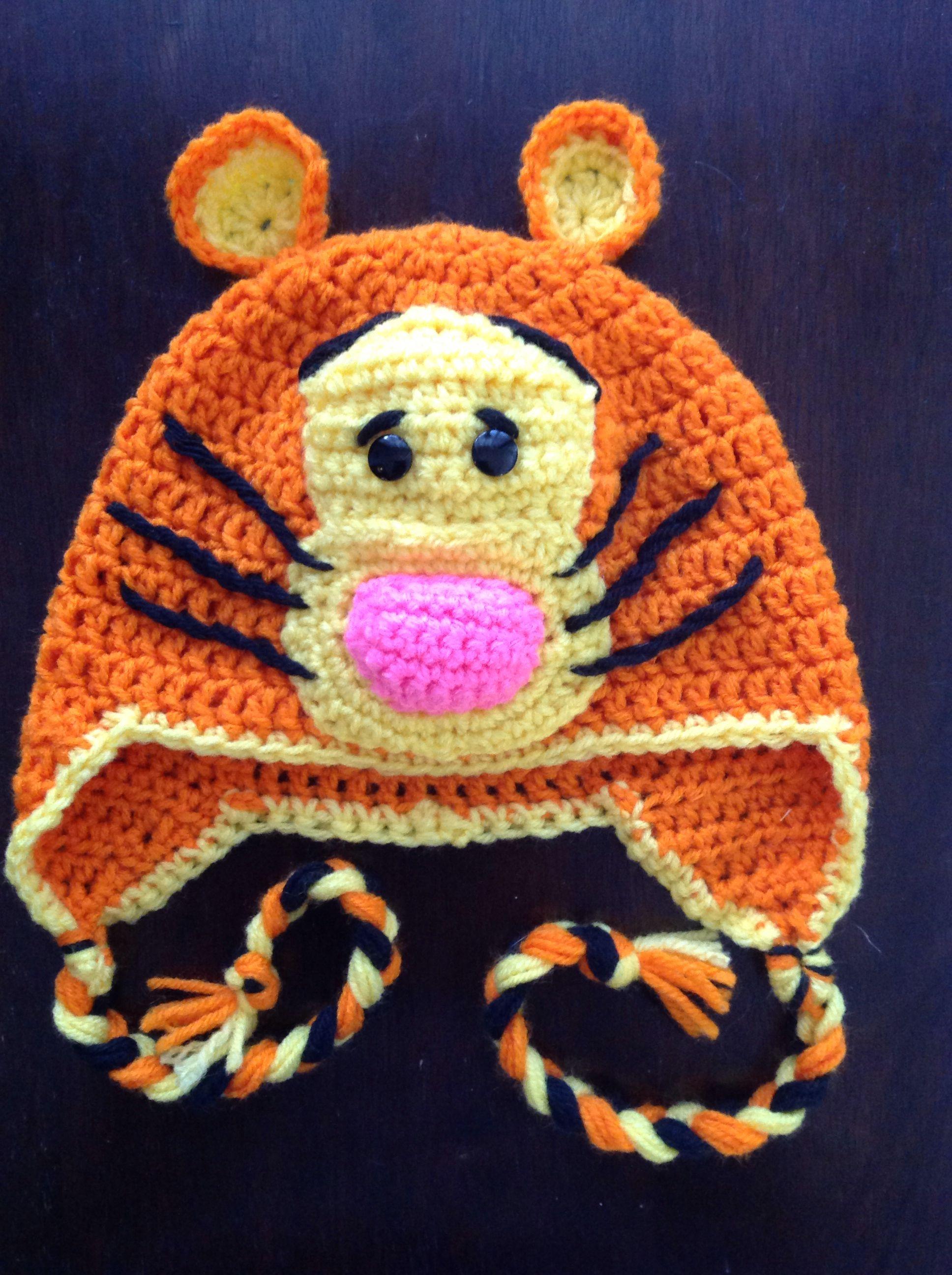8abaed528d1 Tigger crochet hat