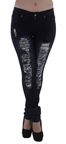 ff6b442d460c7 Style M486P Plus Size Mid Waist Colombian Design Butt lift Ripped Skinny  Jeans in Washed Dark Blue Size 16     Visit the image link more details.