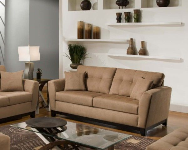 Simmons Upholstery   Luna Sofa In Latte   6565 03