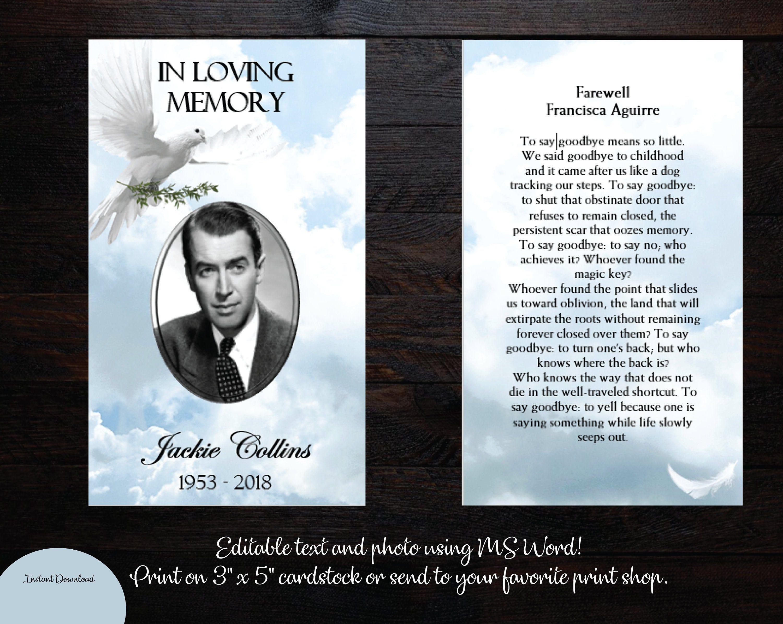 Diy Printable Funeral Prayer Card 3 X 5 Memorial Prayer Card
