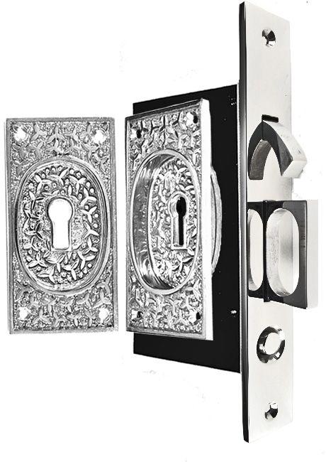 Rice Pattern Single Pocket Privacy Lock Style Door Set Polished Chrome Door Sets Pocket Door Hardware Pocket Doors