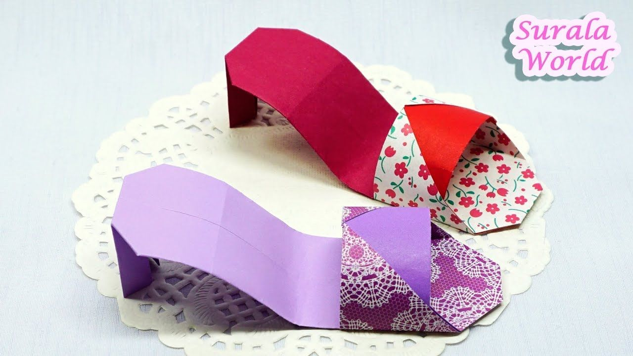 Origami Sandals Shoes How To Make Paper Sandals High Heels Fabric Origami Origami Crafts Origami Paper Art