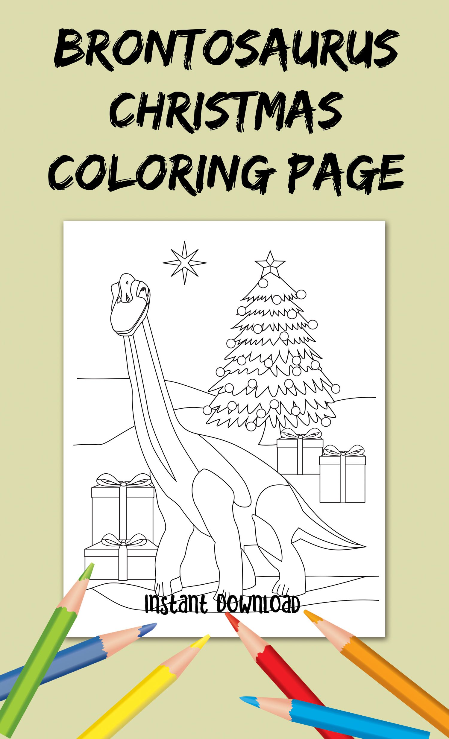 Happy Brontosaurus in front of his Christmas tree ...