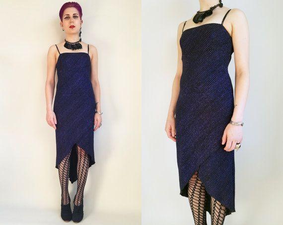 90s Glitter Prom Dress Purple Blue Black Dress Glitter Dress Sparkly ...