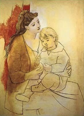 Pablo Picasso -  Mother and Child  Before Curtain, 1919