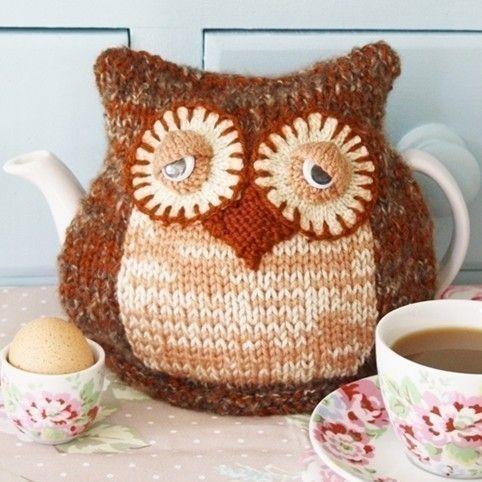 Teapot Cozy Knitting Pattern : Morning Owl Tea Cosy - pdf email knitting pattern by debi birkin Owl and Te...
